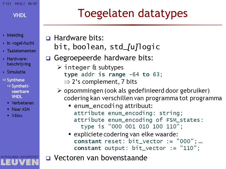 Toegelaten datatypes Hardware bits: bit, boolean, std_[u]logic